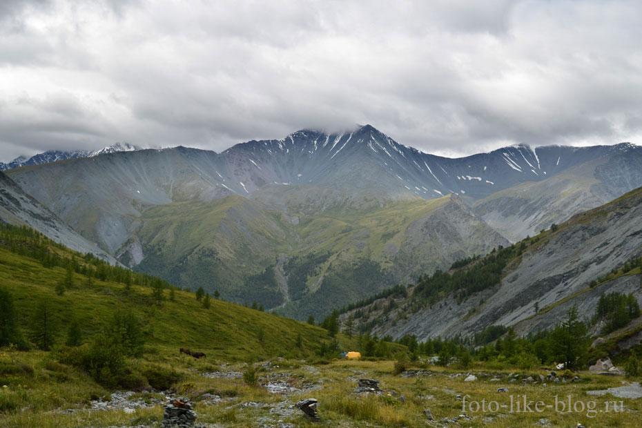Вид на перевалы из долины реки Ярлу