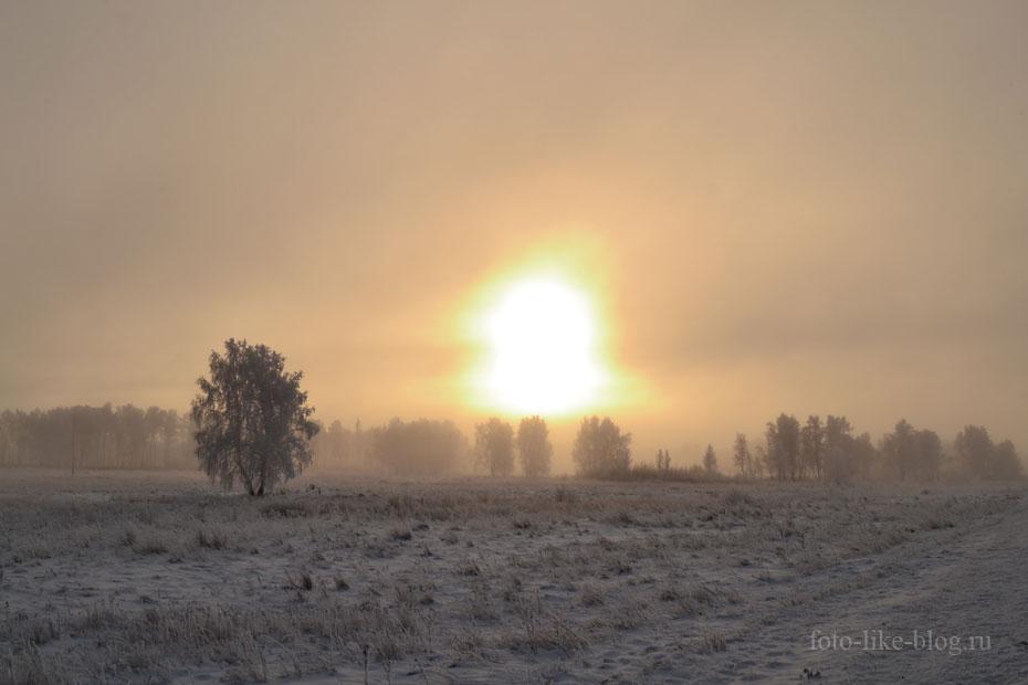 Холодное туманное утро